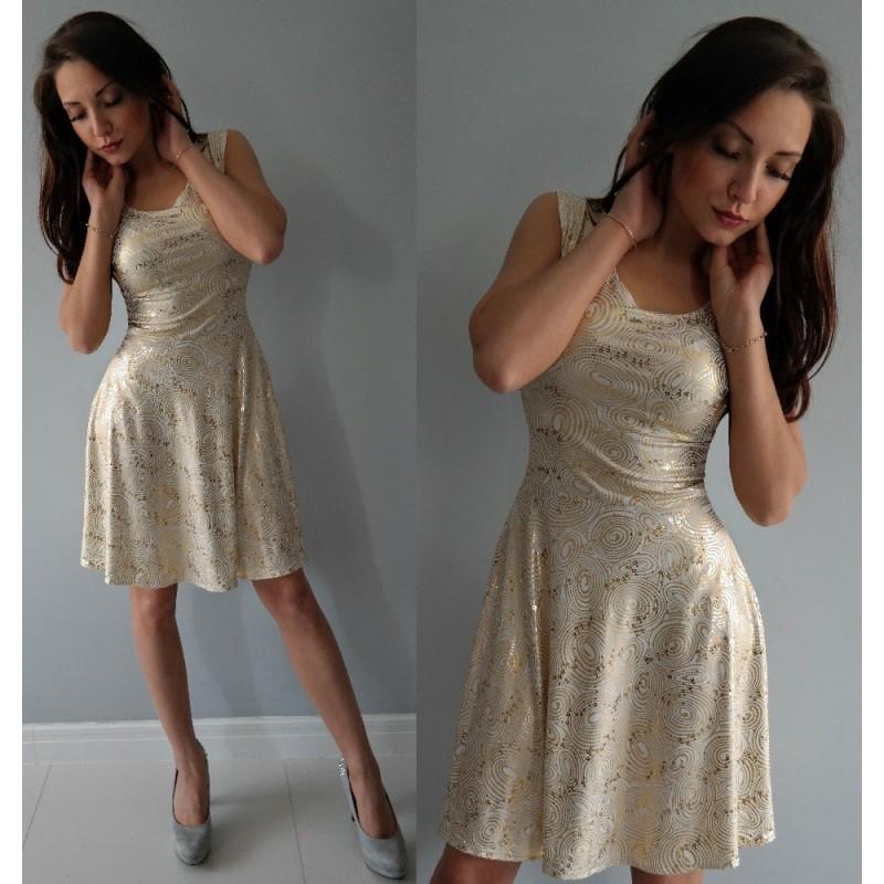 8771decff9 BIAŁA rozkloszowana sukienka w ZŁOTE ozdoby WZORY ...