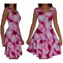 Rozkloszowana sukienka w RÓŻOWE wzory