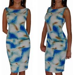 Ołówkowa sukienka w NIEBIESKIE wzory