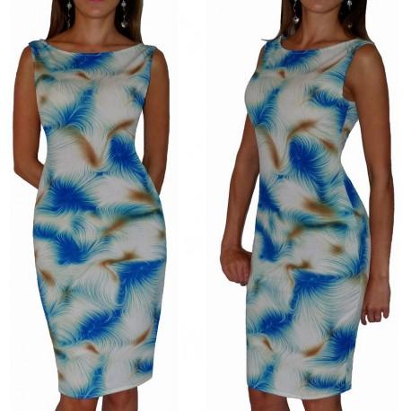 Klasyczna sukienka w NIEBIESKIE wzory