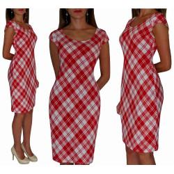 Klasyczna sukienka w CZERWONĄ kratkę