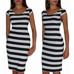 Ołówkowa sukienka w PASY czarno białe