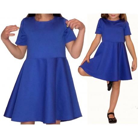rozkloszowana chabrowa sukienka dla dziewczynki