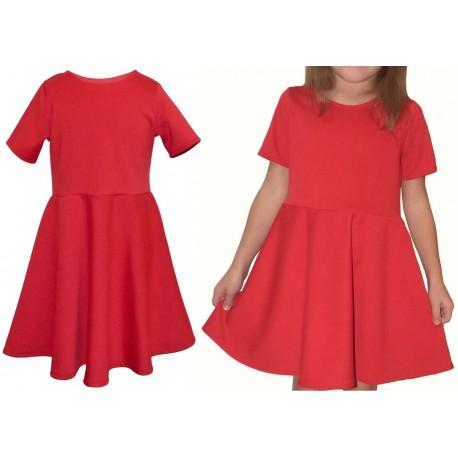 rozkloszowana KORALOWA sukienka dla dziewczynki