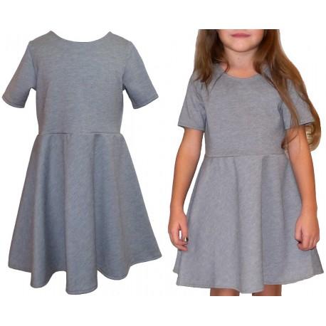 rozkloszowana SZARA sukienka dla dziewczynki