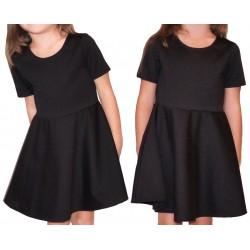 rozkloszowana CZARNA sukienka dla dziewczynki