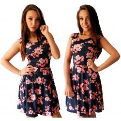 sukienka Granatowa w CZERWONEk kwiaty ROZKLOSZOWANA
