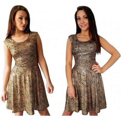 CZARNA rozkloszowana sukienka w ZŁOTE ozdoby WZORY