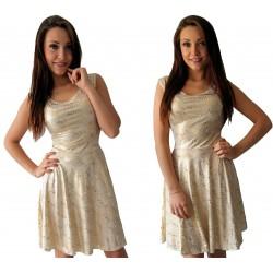 BIAŁA rozkloszowana sukienka w ZŁOTE ozdoby WZORY