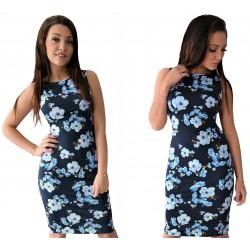 Granatowa klasyczna sukienka w CZERWONE kwiaty