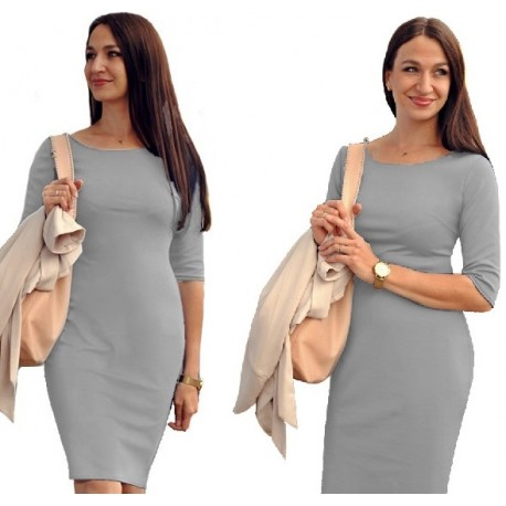 klasyczna NIEZASTĄPIONA sukienka SZARA