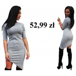 asymetryczna sukienka ołówkowa SZARA melanż