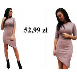 asymetryczna sukienka ołówkowa RÓŻOWA melanż