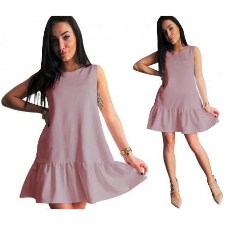 Sukienka BOHO z falbana BRUDNY RÓŻ