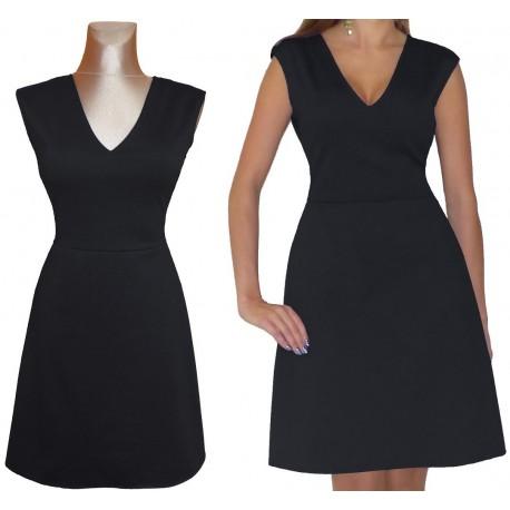 TRAPEZOWA czarna sukienka dekolt V