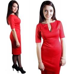 CZERWONA sukienka DEKOLT DŁUGA 103cm rękawek